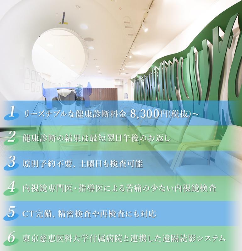 リーズナブルな健康診断料金 8,300円(税込)~健康診断の結果は最短翌日午後のお返し 原則予約不要、土曜日も検査可能 内視鏡専門医・指導医による苦痛の少ない内視鏡検査 CT完備、精密検査や再検査にも対応 東京慈恵医科大学付属病院と連携した遠隔読影システム